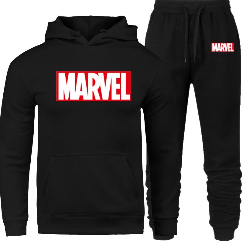 2019 Men Tracksuit Set Winter Fleece Hood Print Marvel Jacket+Pants Sweatshirts Male 2 Piece Set Hoodies Sporting Suit Coat