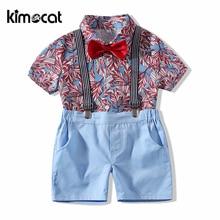 Kimocat Baby Boy Clothes Short Sleeve Shirt+Overalls Summer 2pcs Gentleman Suit Boys Clothing Set Handsome Refreshing Infantal