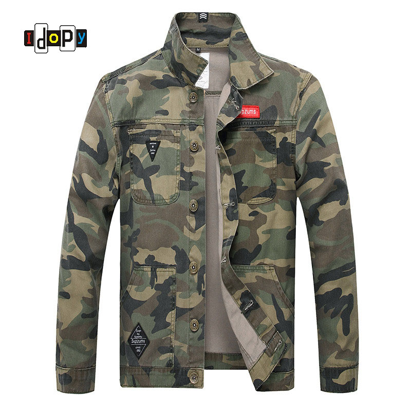 Idopy Men Camouflage Denim Jacket Slim Fit Camo Jean Jackets For Man Trucker Jackets Outerwear Size S-5XL Turn Down Collar