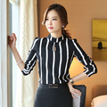 2017 New Spring Women Blouse shirt Long sleeve Striped Chiffon Shirt Fashion temperament Brand Plus size women tops