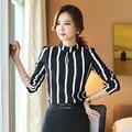 2017 New Spring Women Blouse shirt Long sleeve Striped Chiffon Shirt Fashion temperament Brand Plus size women tops