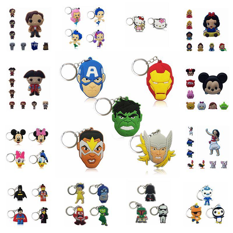 1000PCS PVC Cartoon Figuur Sleutelhanger Marvel Avengers Mickey Ster Oorlog Leuke Anime Sleutelhanger Hanger Sleutelhanger Trinket Party favor-in Sleutelhangers van Sieraden & accessoires op  Groep 1