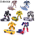 7 Pçs/set Mini Bonito 4 Crianças Modelo Carros Brinquedos Deformação Robô Legal Toy Figuras de Ação Anime Brinquedos Partido Presente original caixa