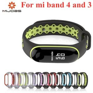 Image 1 - Sport Mi Band 3 4 Strap handgelenk gurt für Xiaomi mi band 3 sport Silikon Armband für Mi band 4 3 band3 smart uhr armband