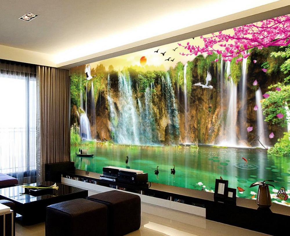 mural 3d wallpaper 3d wall papers for tv backdrop waterfall scenery 3d wallpaper landscape home. Black Bedroom Furniture Sets. Home Design Ideas