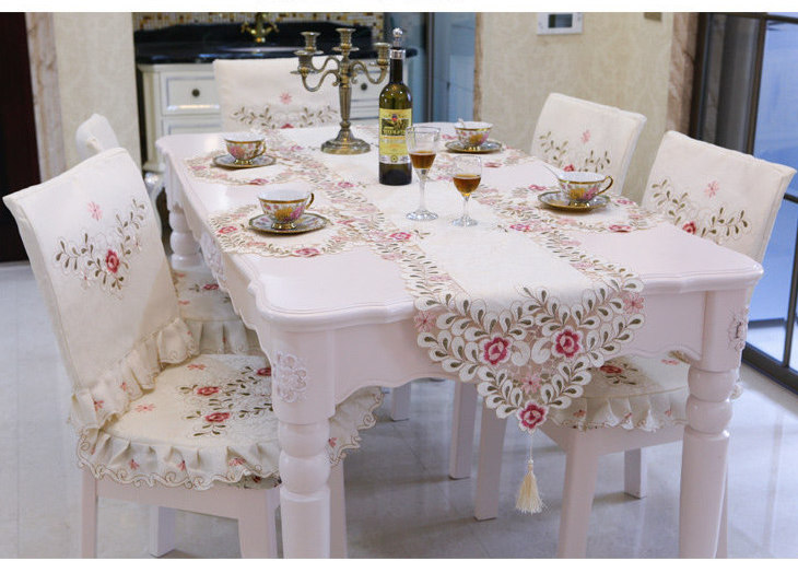 Tablecloth Table Runner Chair Mat 19- 70 inch Flat Screen LCD TV Cover Decorative Satin Jacquard Embroidered Hollow out