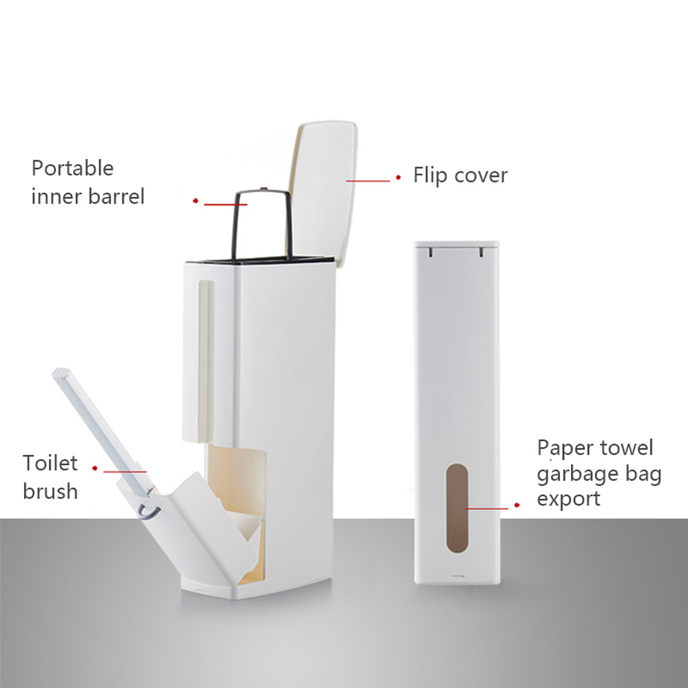 6L Narrow Plastic Trash Can Set with Toilet Brush Set Dustbin Trash Cans Garbage Bucket Bathroom