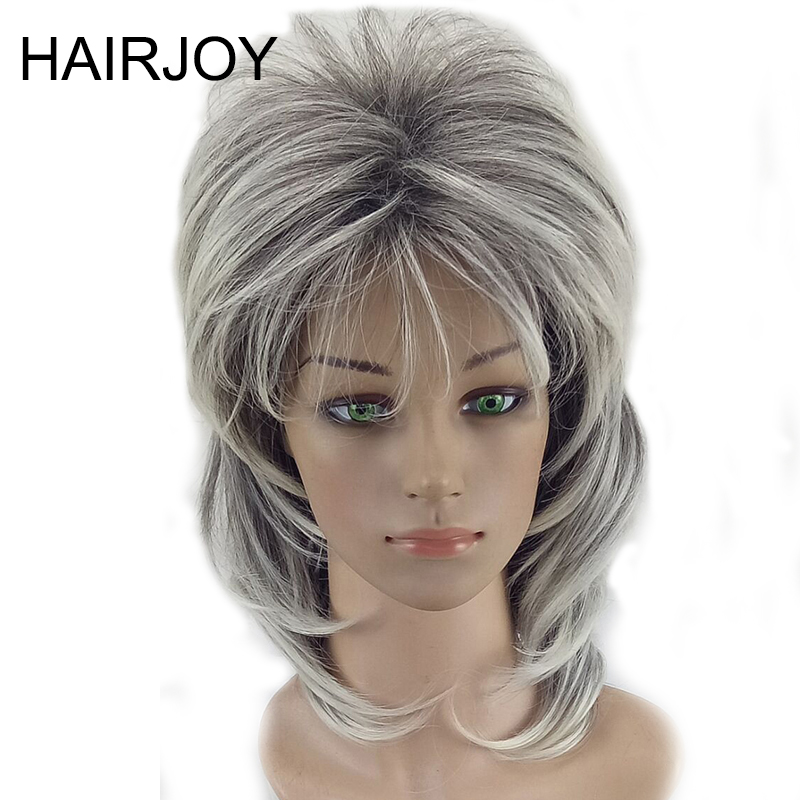 HAIRJOY Women Shag Wig Layered Curly Hair Medium Length Synthetic Natrural  Wigs High Temperature Fiber 5 Colors Available