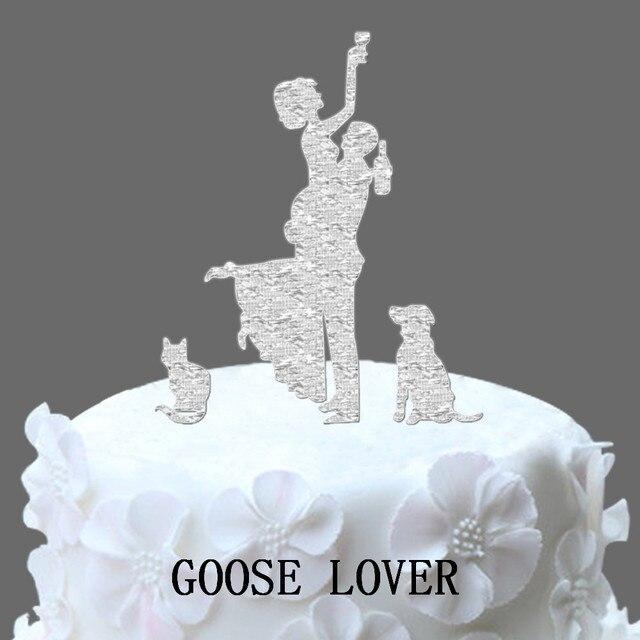 Funny Wedding Cake Topper Silhouette, Dog Silhouette Wedding Cake ...