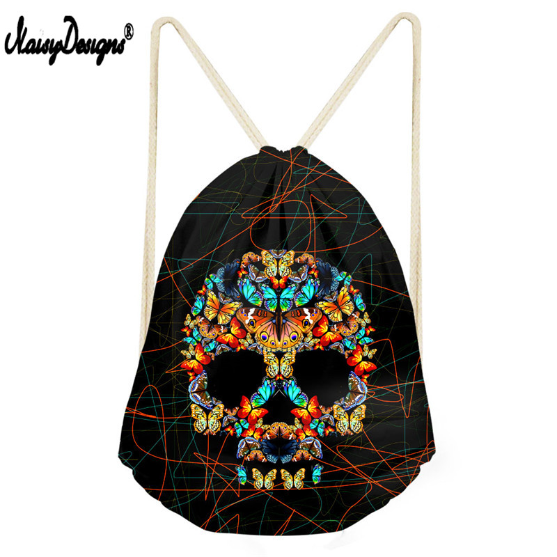 Noisydesigns Small Kids Drawstring Bag Men's 3D Puzzle Skull Print Travel Mochila Casual Package Bag String Cinch Bag Shoes Bag