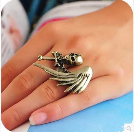 hot cheap jewelry New Fashion free shipping 17MM Punk Skull Cross monoplane wings personality ring adjustable Wholesale