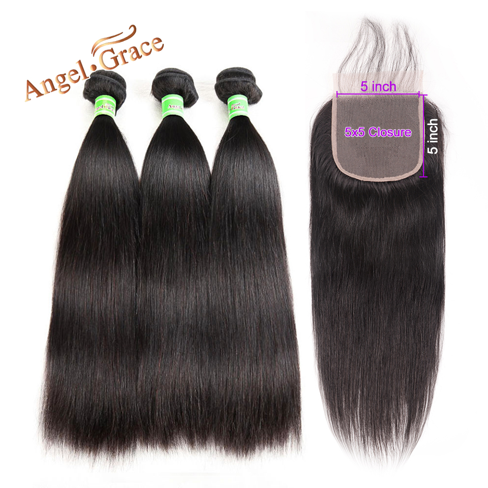 Angel Grace Hair Brazilian Straight Hair Bundles With 5x5 Lace Closure Remy Hair 3 Bundles With