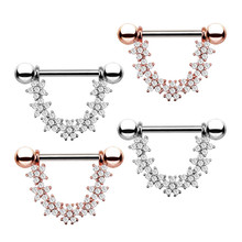 new hot stainless steel gold silver color cz crystal nipple rings women nipple ring bar stud fashion body piercing jewelry