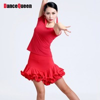 2015 Latin Dance Costumes For Women Tops Skirt Cha Cha Rumba Samba Salsa Performance Dresses Red