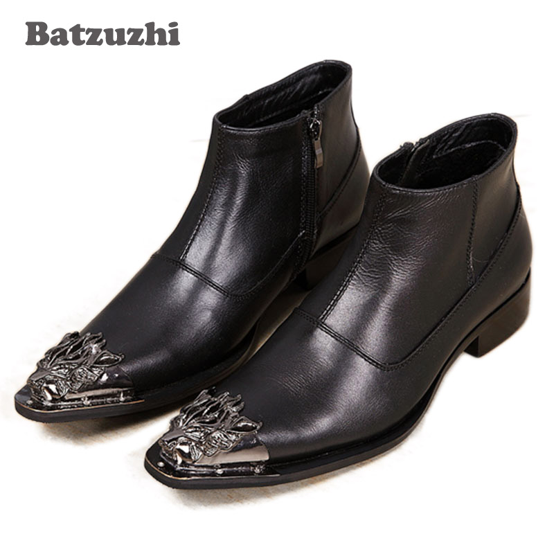 Batzuzhi Mens Ankle boots british style black leather Mens boots dress boots Leather Pointed Iron Toe, Big Size EU38-46Batzuzhi Mens Ankle boots british style black leather Mens boots dress boots Leather Pointed Iron Toe, Big Size EU38-46