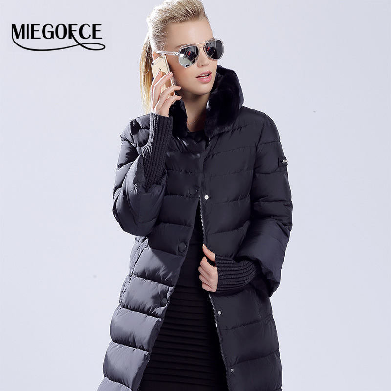 MIEGOFCE Winter Duck Down Jacket Women Long Coat Warm Parkas Thick Female Warm Clothes Rabbit fur collar High Quality