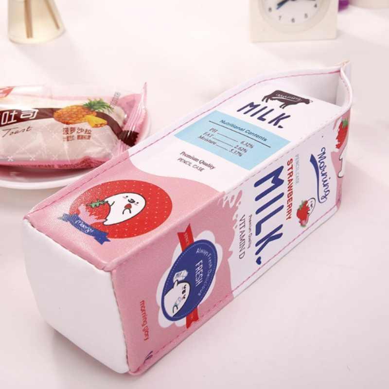 Milk Box Shape Waterproof PU Pencil  Small Object Box Shaped Pen Storage Bag cute Students Desktop  Stationery Set