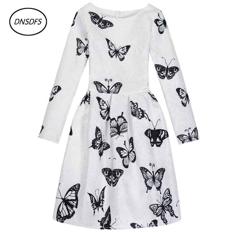 2018 autumn and winter new styles long sleeved dress jacquard butterfly printing pure cotton and high grade dress 5~12 year gir
