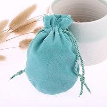 30 шт./лот 6,5*8 см розовый синий ювелирные сумки Подарочный шнурок мешок бархата мини-посылка маленькие фигурки жениха и невесты; карманные аксессуары