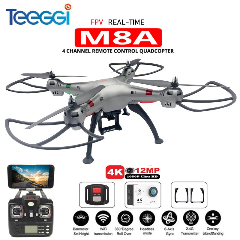 Teeggi M8A FPV RC Quadcopter With H9R 4K Camera 1080P Ultra HD WiFi 2.4G 4CH Professional RC Helicopter Dron VS SYMA X8 X8HG syma x8hw x8hg x8w x8 fpv rc drone with 4k 1080p wifi camera hd altitude hold 6 axis rtf dron rc quadcopter helicopter vs mjx b3