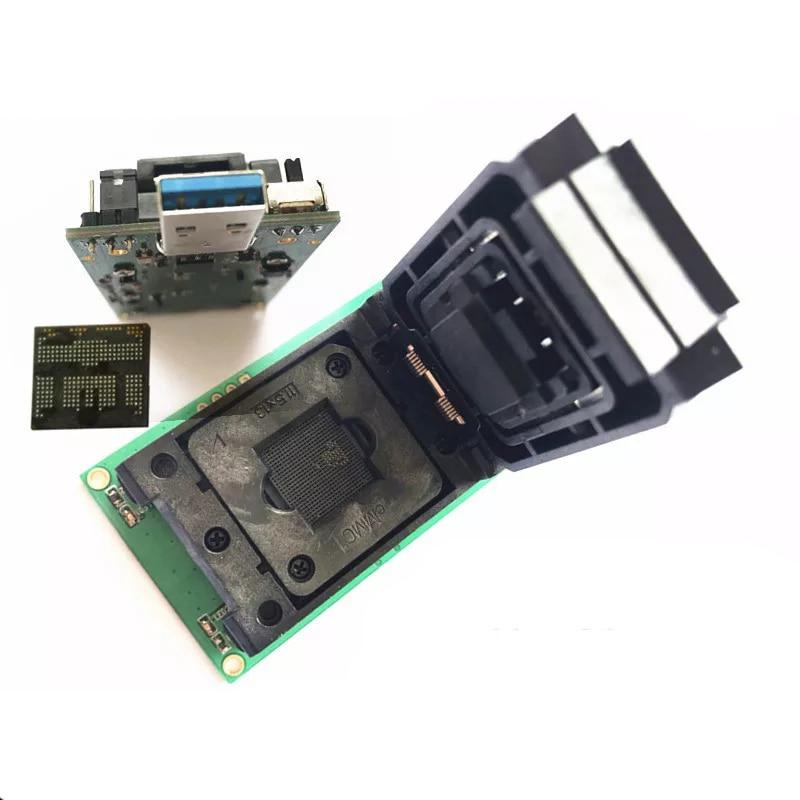 Livraison gratuite BGA254 eMCP254 port prise de Test avec Interface USB 3.0 NAND Test flash prise de programmation à clapet