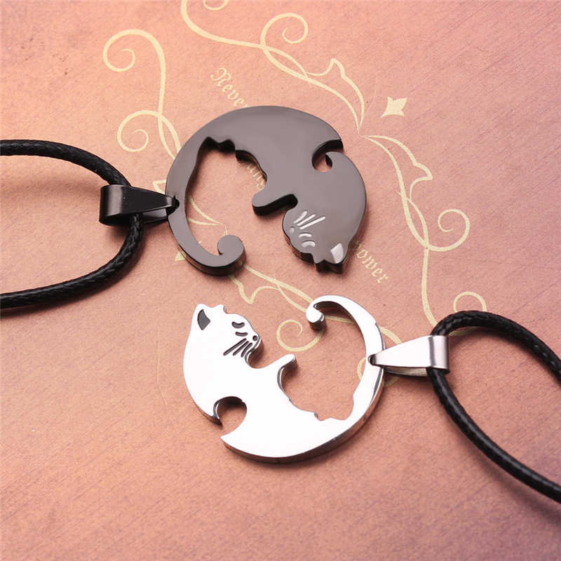 34b10ebde ... Cute Couple Jewelry Animal Pendant Black And White Cat Stitching  Necklace Simple Friendship Gift Gold White ...