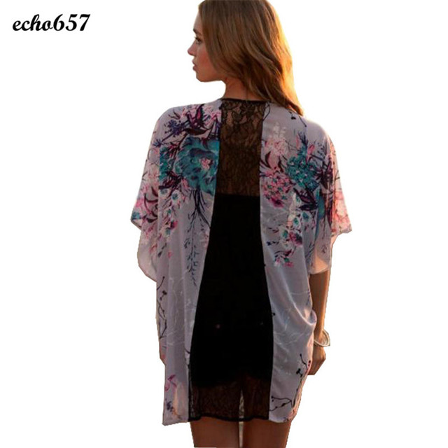 da398efdc13 Hot Echo657 New Fashion Casual Women Floral Short Sleeve Lace Splice  Chiffon Kimono Cardigan Tops Blouse Nov 18