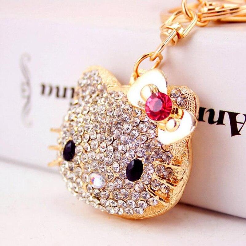 5bcaf479b7f7 Crystal Hello Kitty Cat keychains Bow tie keyrings HandBag Pendant Car Key  ring Purse Bag Buckle