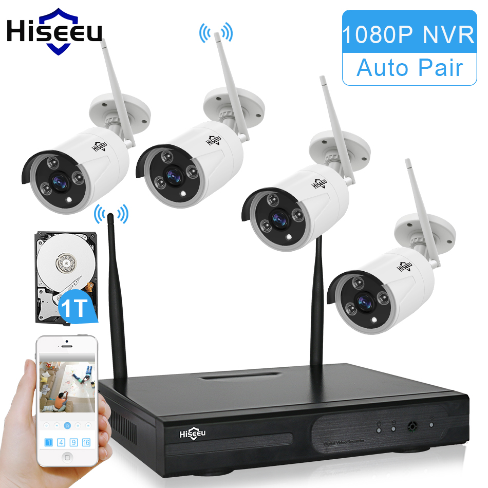 Hiseeu Wireless CCTV System 960P 4ch Powerful Wireless NVR 1TB HDD IP Camera IR-CUT CCTV Home Security System Surveillance Kits recommend mesbang 960p build in 1tb hdd hard disk driver wifi wireless cctv camera system 4ch nvr kit hddfree shipping