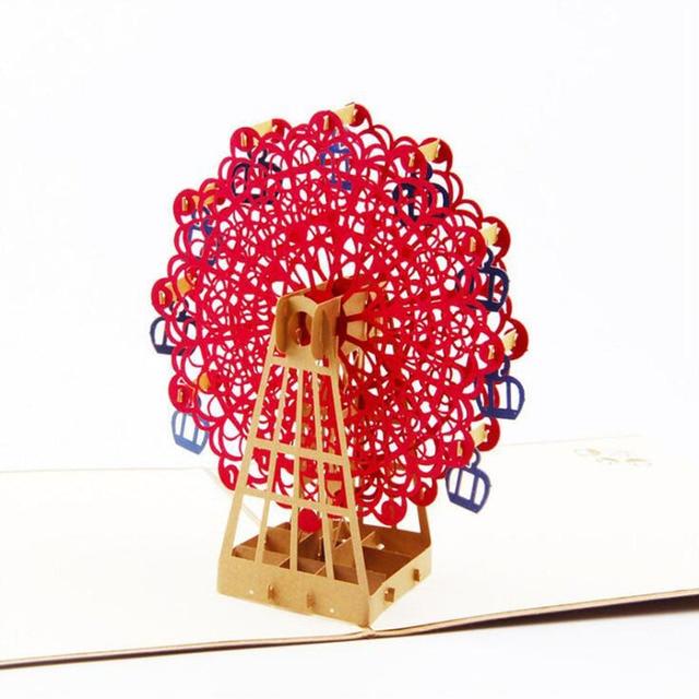 3d paper sculpture ferris wheel greeting card folding invitation