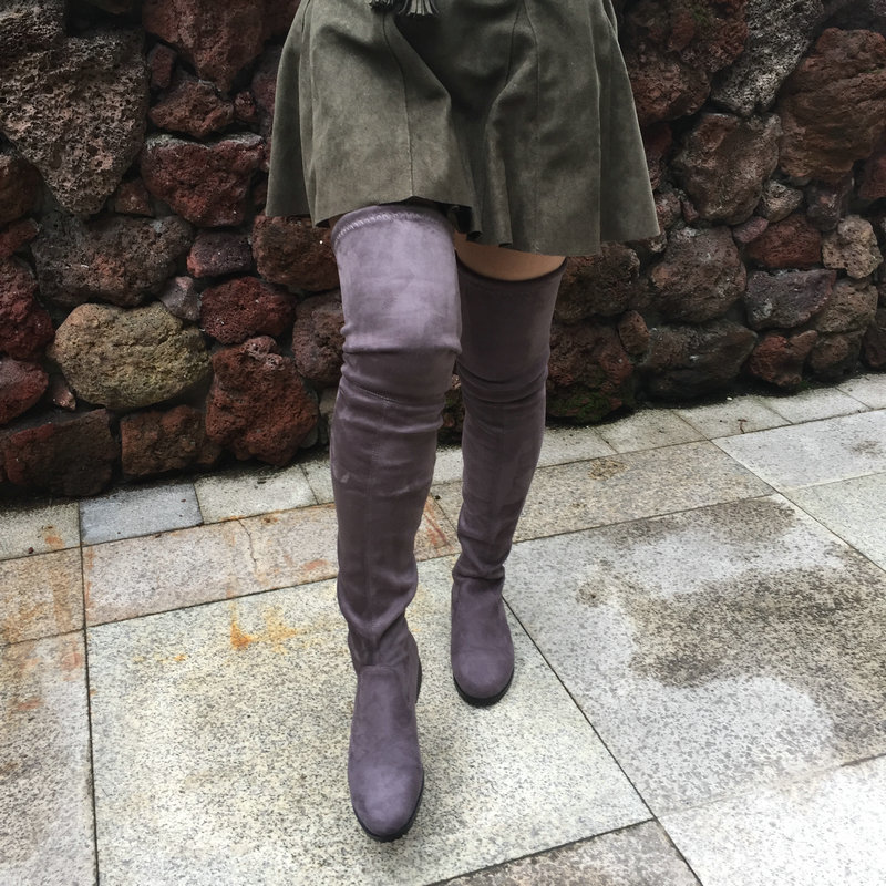 Suede Over the Knee Boots Flat Thigh High Boots Women Sexy Fashion Winter Boots Shoes Woman 2017 Black Gray Winered