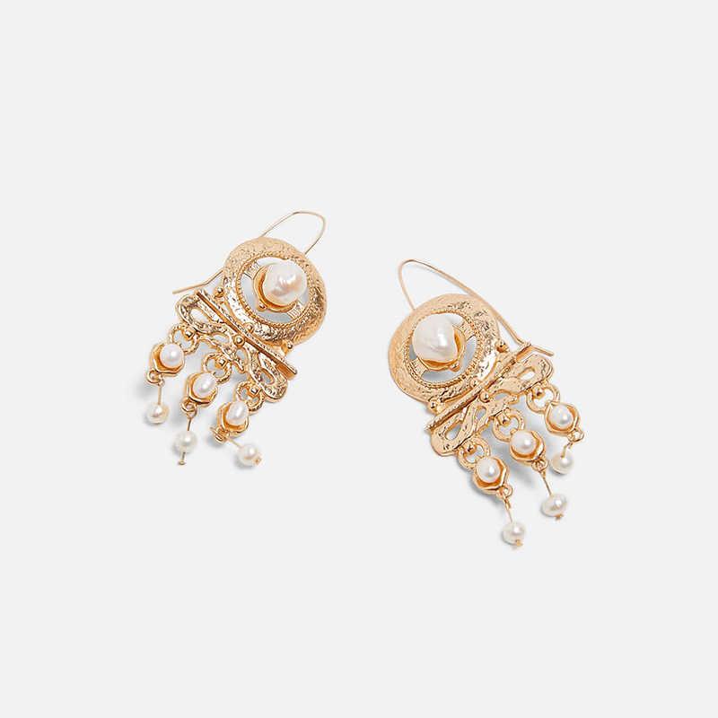 2019 Bohemia ZA Pearl Drop Dangle Earrings for Women Elegant Boho Gold Long Statement Tassels Earring Party Wedding Jewelry
