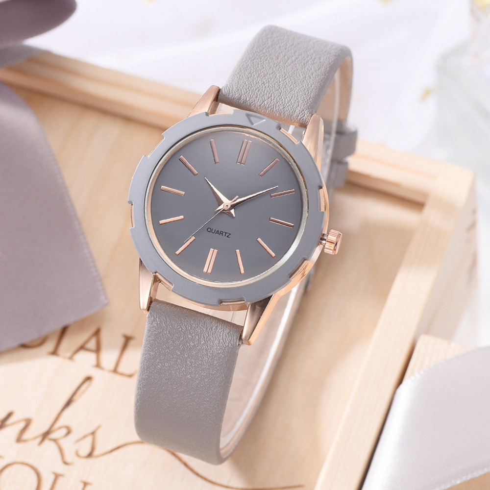 Korean New Fashion Simple Lady Watch Multicolor Leather Belt Women Clock Quartz Wrist Watches Orologi Donna Relojes Para Mujer*A