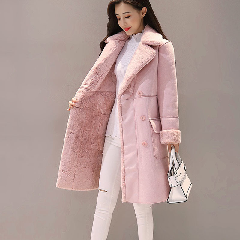 Women's Clothing New Winter Women Suede Fur Coats Long Double Breasted Trench Coats Female Thick Jackets Ladies Faux Sheepskin Windbreakers 2019 Latest Style Online Sale 50% Jackets & Coats