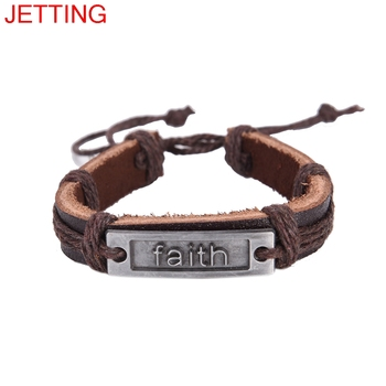 Bracelet Rope Braided Leather Bracelets & Bangels men Handmade Jewelry For Women Men 1Pc