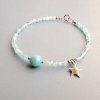 Lii Ji Real Larimar Natural Aquamarine Bracelet 925 Sterling Silver 18K Gold Plated Star Charm Delicate Bracelet For Women