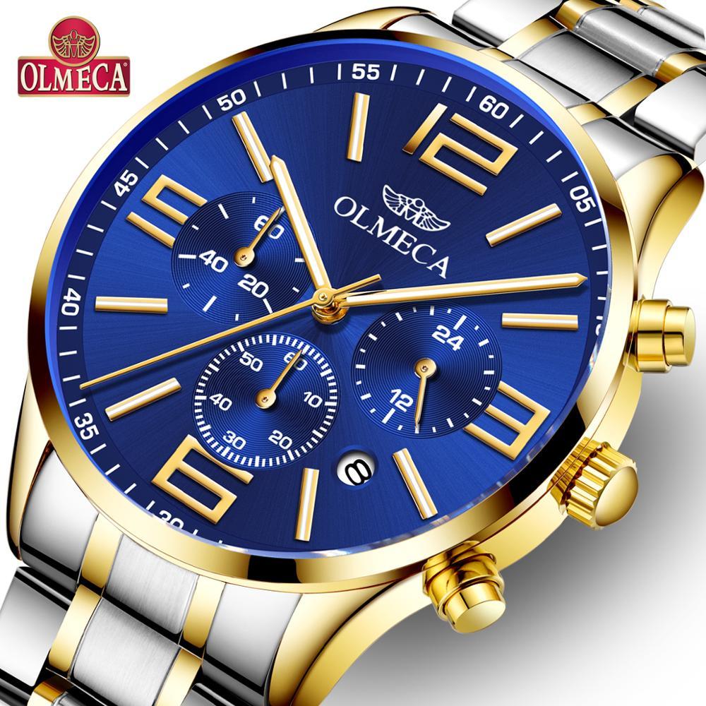 OLMECA Men Watches Luxury Luminous 30M Waterproof Wrist Watch Diamonds Dial G Stainless Steel Band