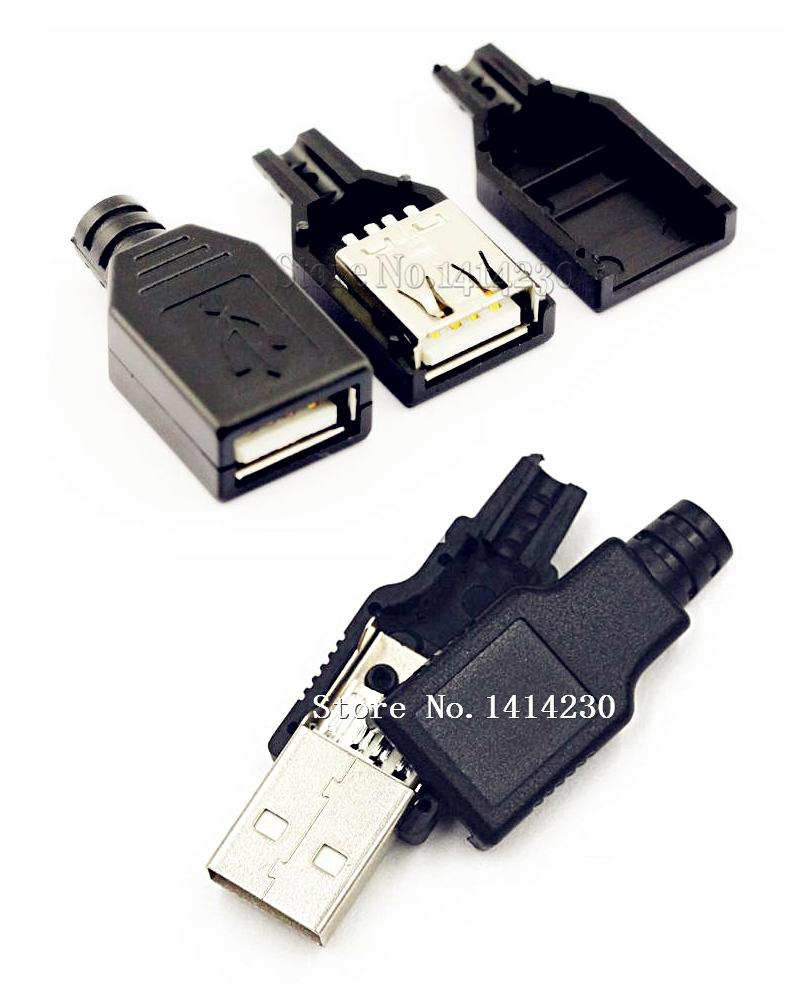 10Pcs Type A Female and Male USB 4 Pin Plug Socket Connector With Black Plastic Cover Socket(5pcs male + 5pcs female)