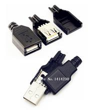 купить 10Pcs Type A Female and A Male USB 4 Pin Plug Socket Connector With Black Plastic Cover USB Socket(5pcs male + 5pcs female) по цене 79.46 рублей