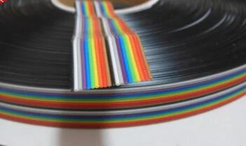 Free Shipping 10Mtr 20WAY Flat Color Rainbow Ribbon Cable wire Rainbow Cable 20P ribbon cable 1.27MM pitch Connector