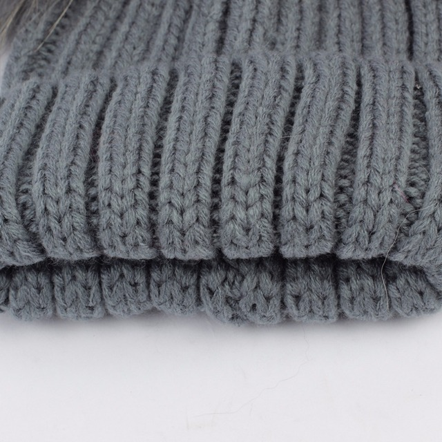 Geebro Brand Winter Baby Hat Real Fur Pom Pom Knitted Toddler Kid Warm Real Double Raccoon Fur Balls Beanies for Boys and Girls
