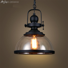 الأمريكية لوفت الرجعية الصناعية قلادة أضواء الزجاج شنق مصباح لغرفة المعيشة مطعم شريط المنزل الإضاءة تركيبات المطبخ ديكو