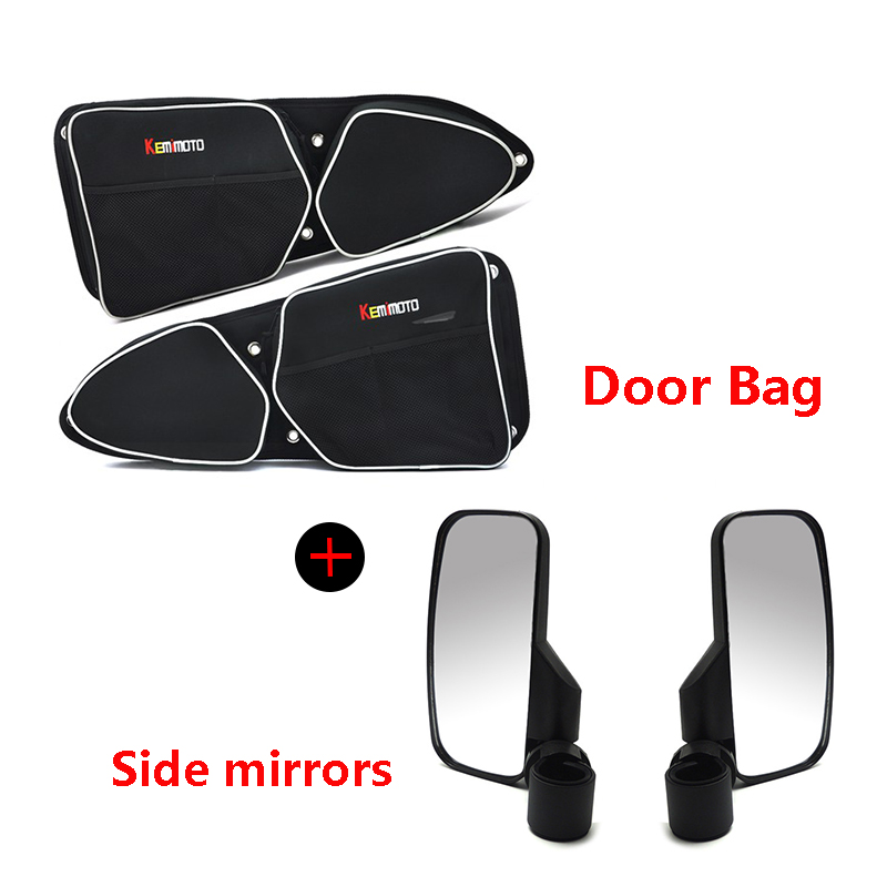 KEMiMOTO for Polaris RZR 900 RZR XP 1000 UTV Door Bag Passenger Driver Pad Storage Bag Knee Pad Side mirrors Rear view mirror