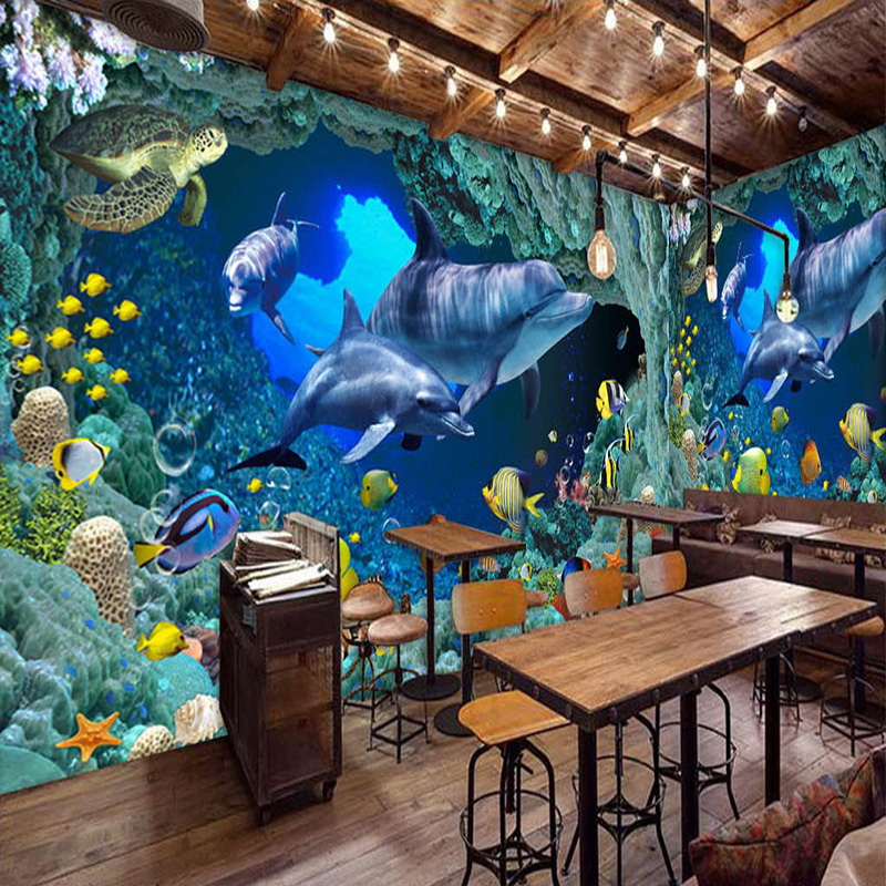 Photo Wallpaper HD Blue Submarine World Dolphin Theme Restaurant Backdrop Wall Painting Kids Bedroom Papel De Parede 3D Paisagem