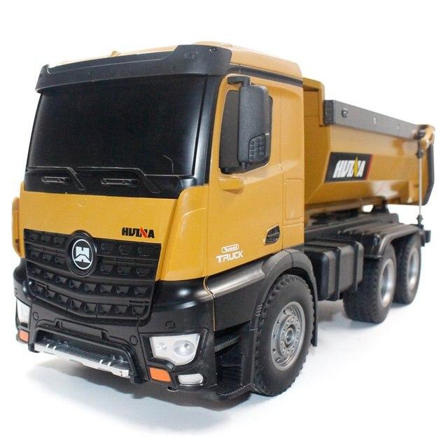 HUINA צעצועי 1573 1/14 10CH סגסוגת RC Dump משאיות הנדסת בניית מכונית שלט רחוק רכב צעצוע RTR RC משאית מתנה עבור ילד
