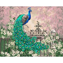 Frameless Green Peacock Animals DIY Painting By Numbers Kit Paint On Canvas Calligraphy For Home Decor