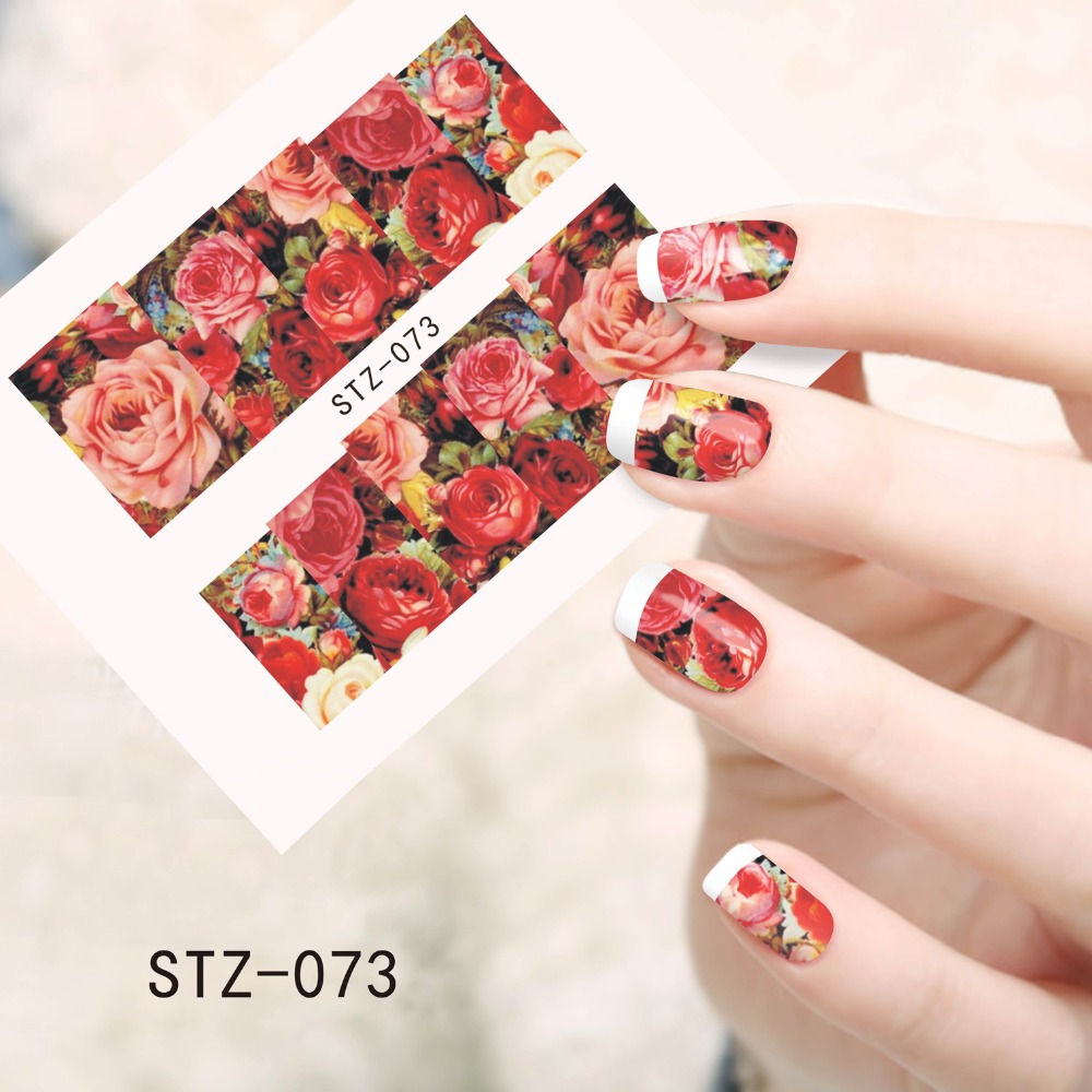 1sheets Beauty Red Flower Tips Nail Art Stickers Nail Decals Full ...