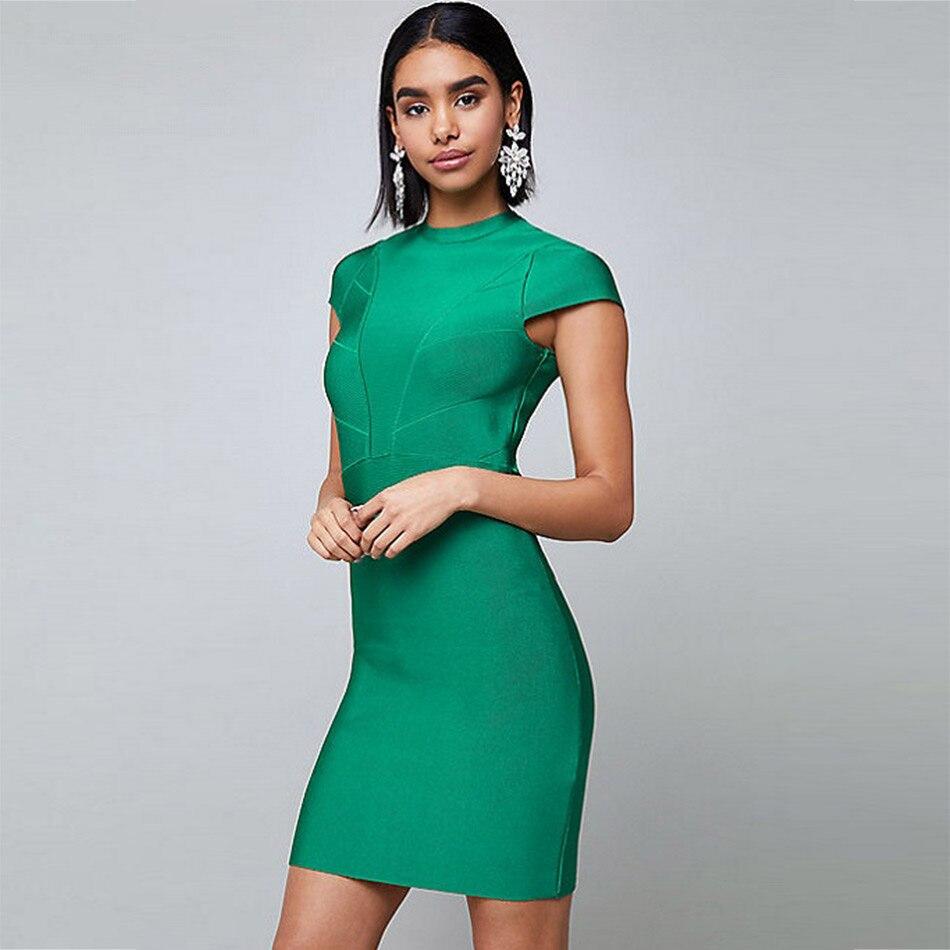 Seamyla 2019 New Bandage Dress Summer Bodycon Green Club Celebrity Party Dresses Women Mini Short Sleeve