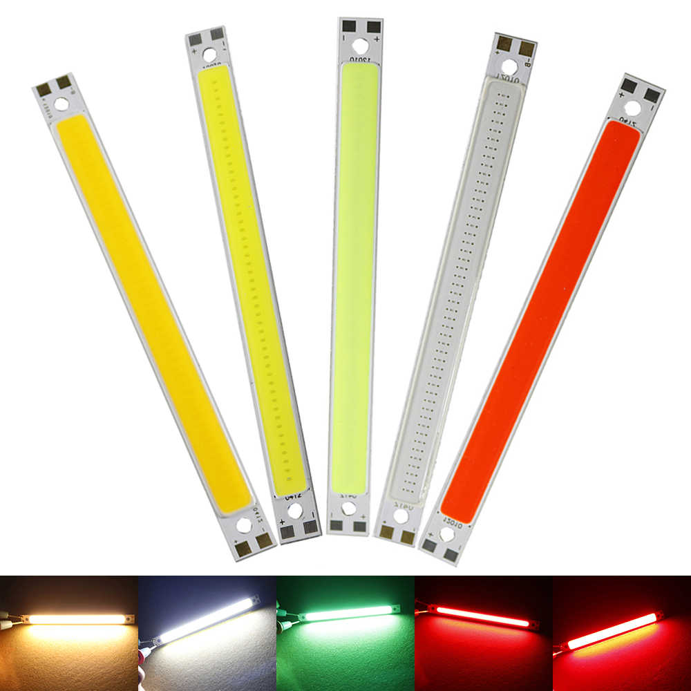 120MM*10MM Led Light Strip Surper Highlight 10W COB Led Strips Lamps DIY Car Work 12V Bar Light Warm White/White/Green/Red HQ