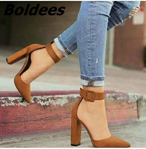 Pompes 10 As as Pointu Pic Bride Office Chaussures Lady Cm 2 Cheville Robe Quotidienne À 1 Hauts Bout Chunky Talons La nd8HxFwHqa